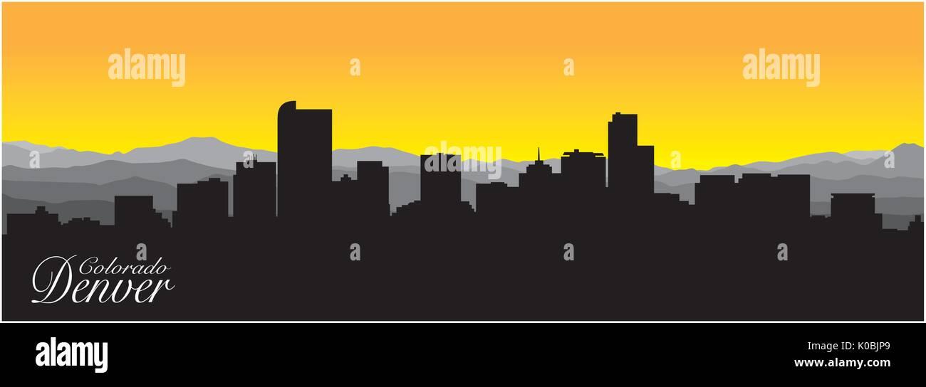 Silhouette de la capitale du Colorado, Denver Photo Stock