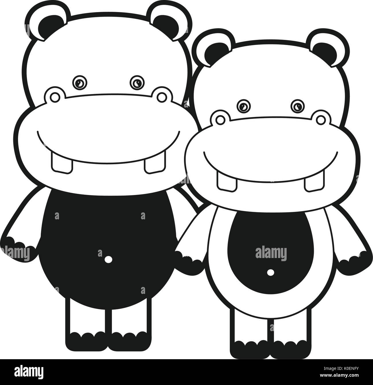Silhouette Dessin Caricature Monochrome Animal Mignon Couple D