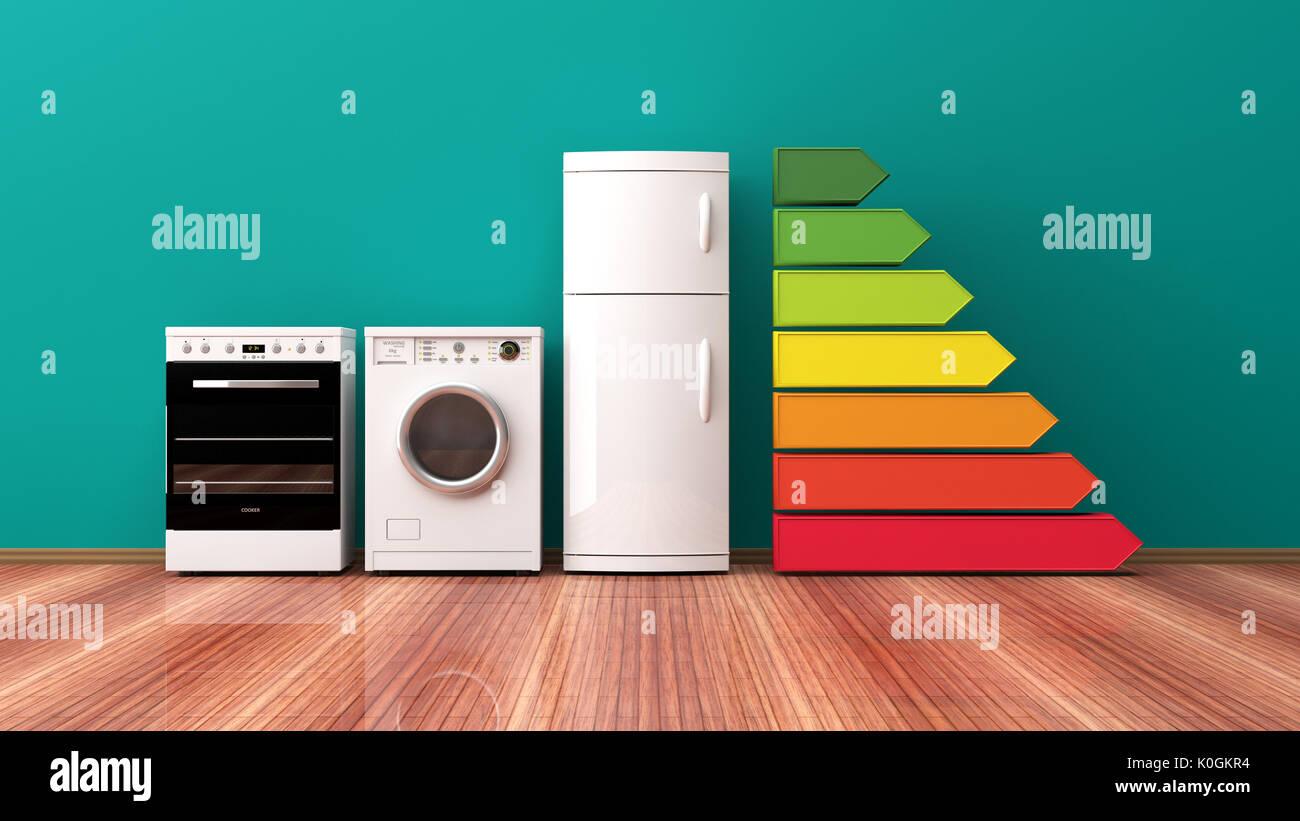 L'efficacité énergétique des appareils domestiques et de classement. 3d illustration Banque D'Images