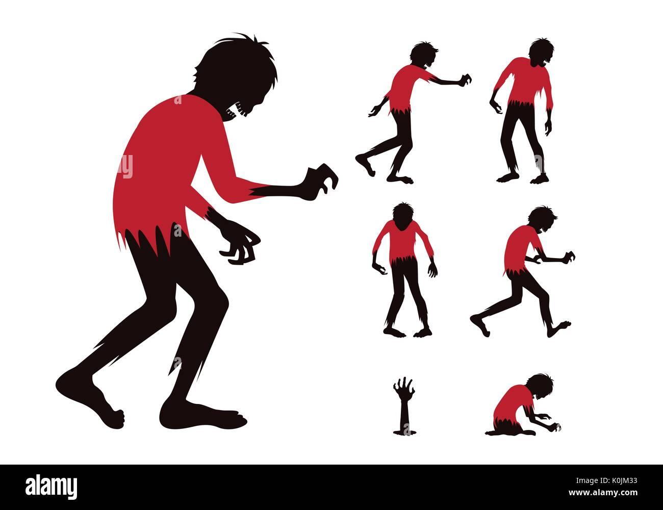 Zombie Silhouette avec chemise rouge corps plein différence dans la collection d'action Photo Stock
