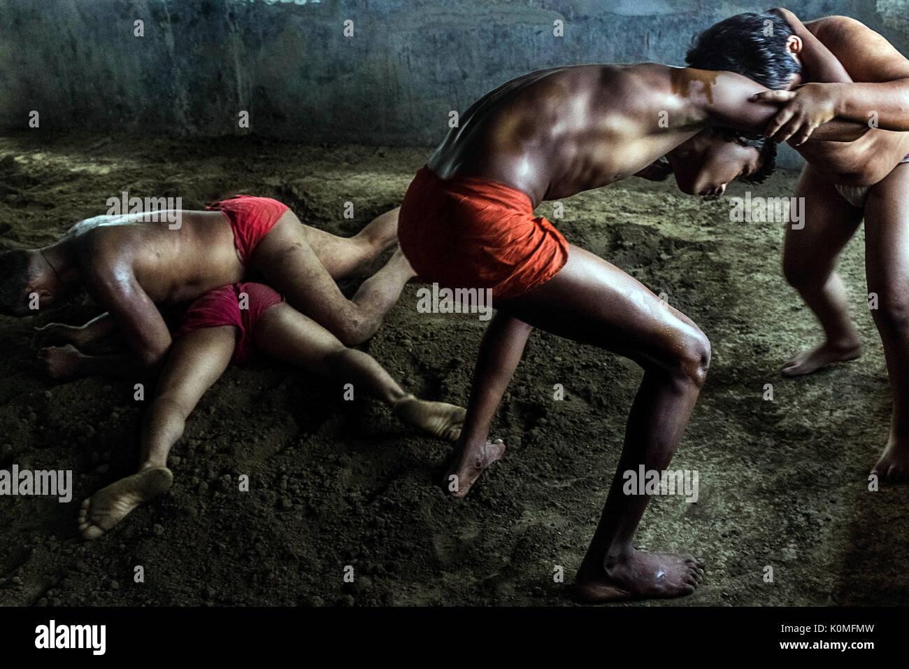 La lutte en akharas kolkata West Bengal, Inde, Asie Photo Stock