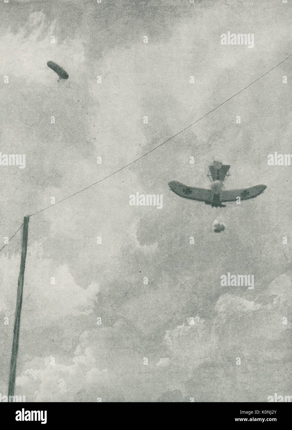 Avion allemand abattus au-dessus de lignes alliées Banque D'Images