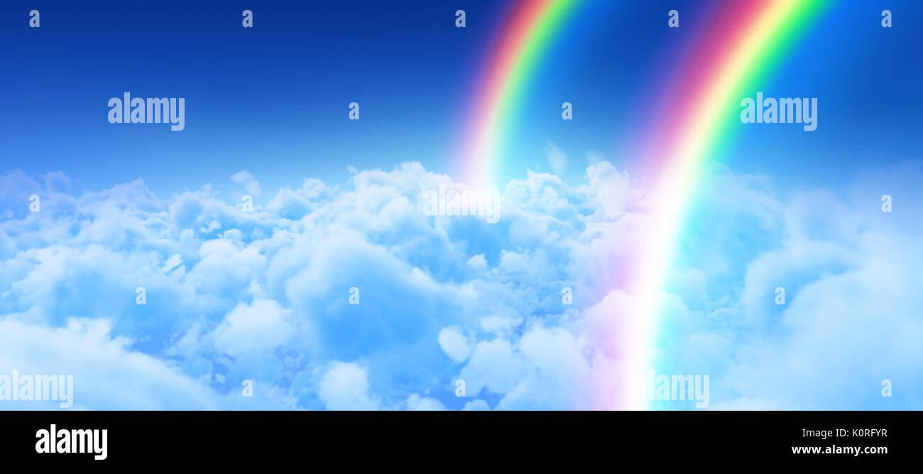 Image numérique de rainbow contre vue du ciel couvert contre le ciel bleu Banque D'Images