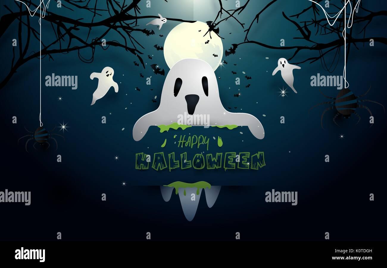Happy Halloween Illustration Design Fantômes Blancs Et Les