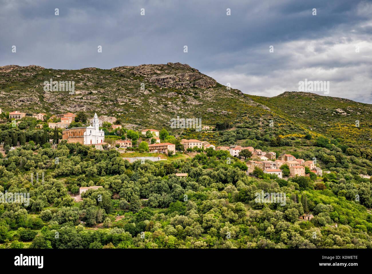Village sur une colline de Santo-Pietro-di-Tenda Nebbio, région, département Haute-Corse, Corse, France Photo Stock