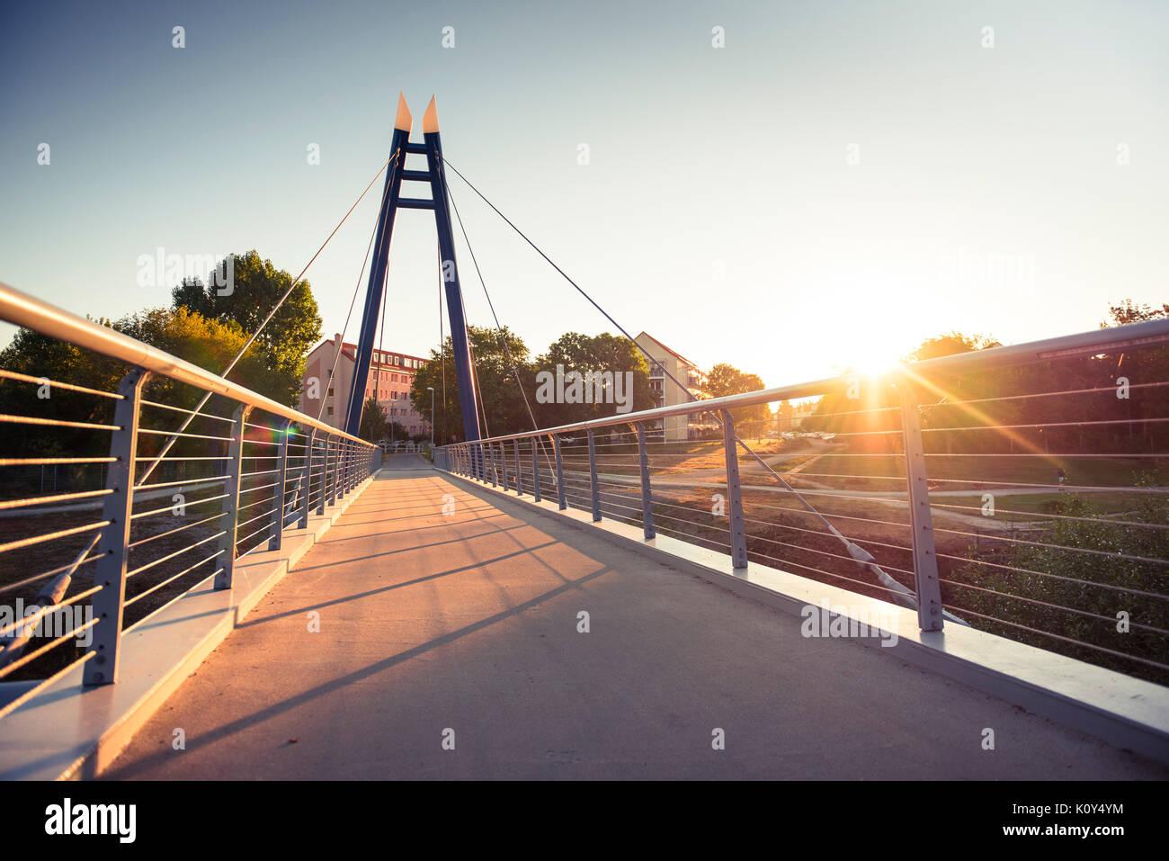 Pont sur la rivière Gera à Erfurt Banque D'Images
