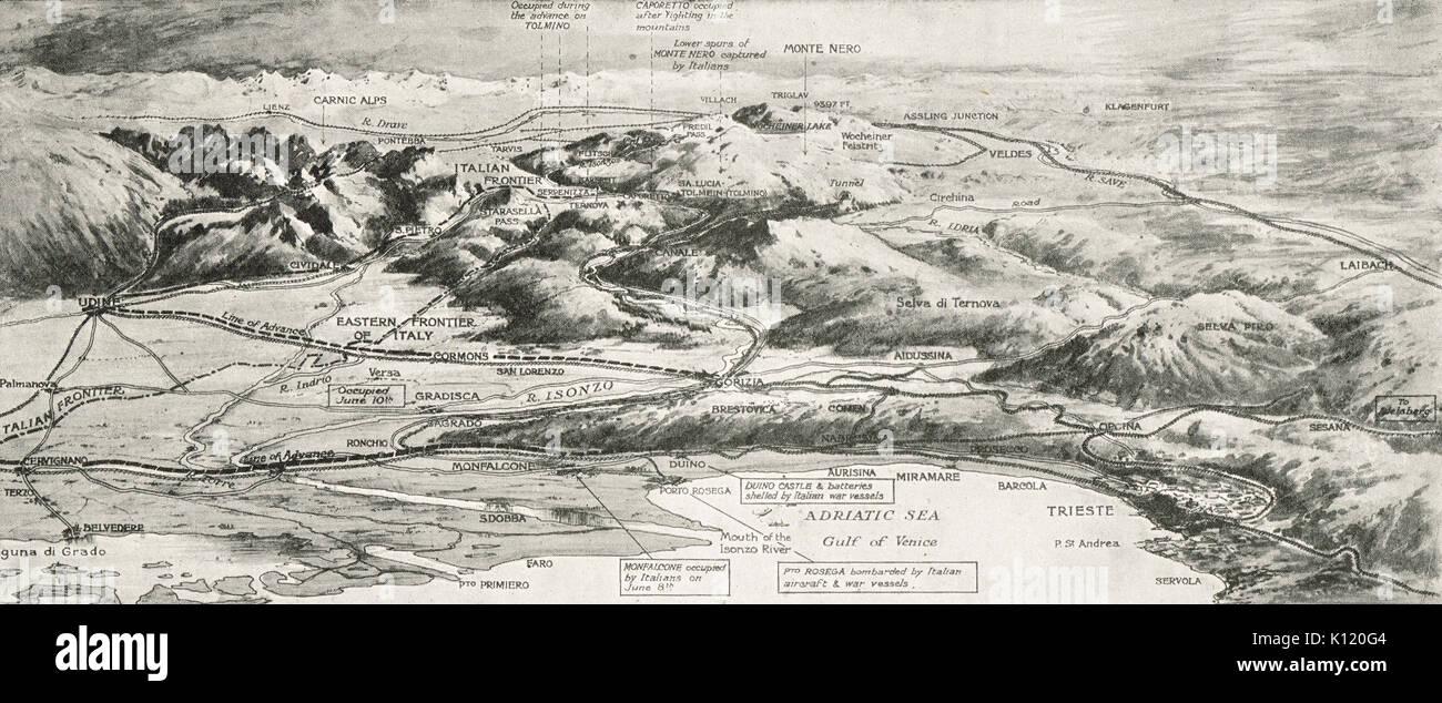 Carte d'isolignes du Théâtre de l'Est de la campagne d'Italie, WW1 Photo Stock