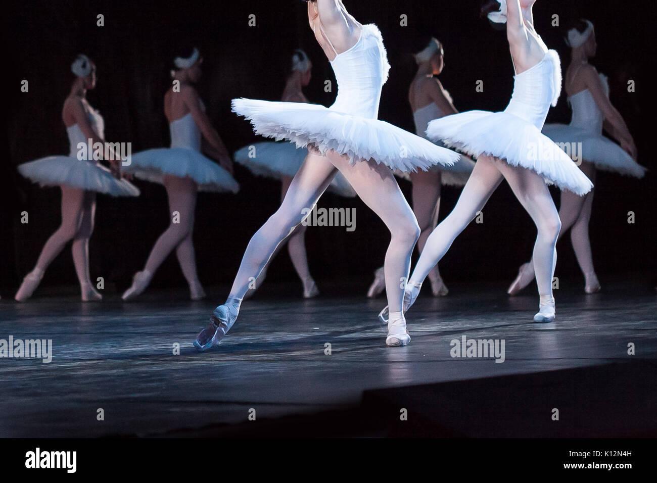 Amusement, de passion, de beauté concept. gracefull et tendre les filles, danseurs de ballet, habillé en blanc de costumes magnifiques Cygnes pour l'exécution de monde savent Photo Stock