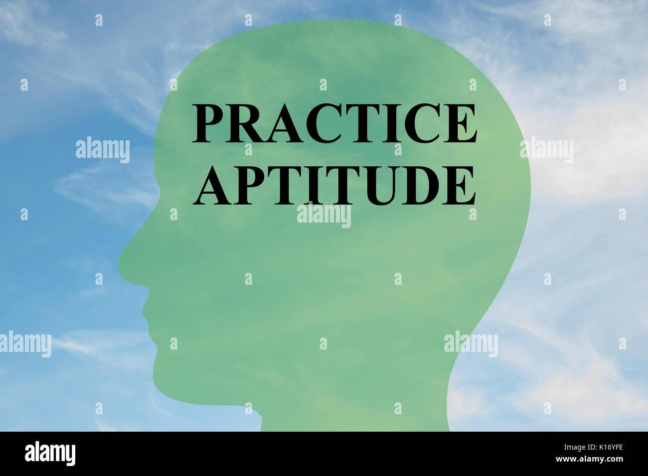Rendre l'illustration de la pratique 'aptitude' script sur head silhouette, avec ciel nuageux comme arrière-plan. Photo Stock
