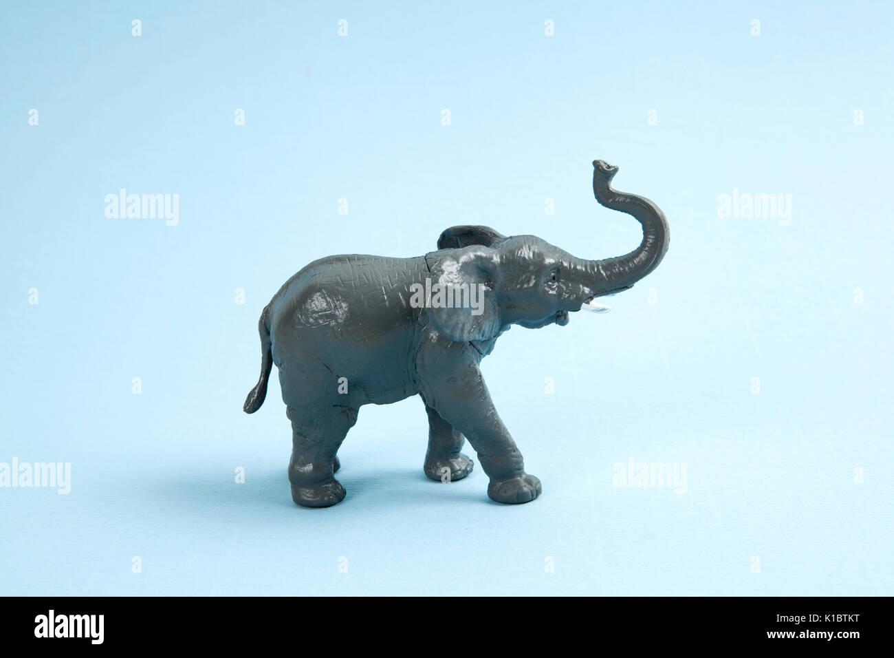 Un éléphant en plastique sur un fond bleu. Couleur minimum still life photography Photo Stock