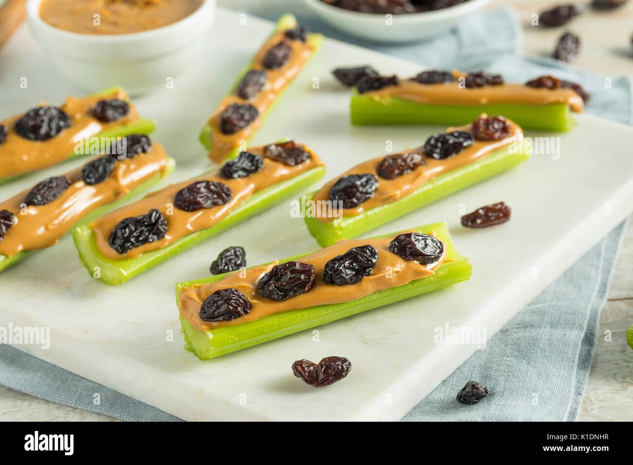 Des fourmis sur un journal Snack avec du beurre d'arachides et raisins Céleri Banque D'Images