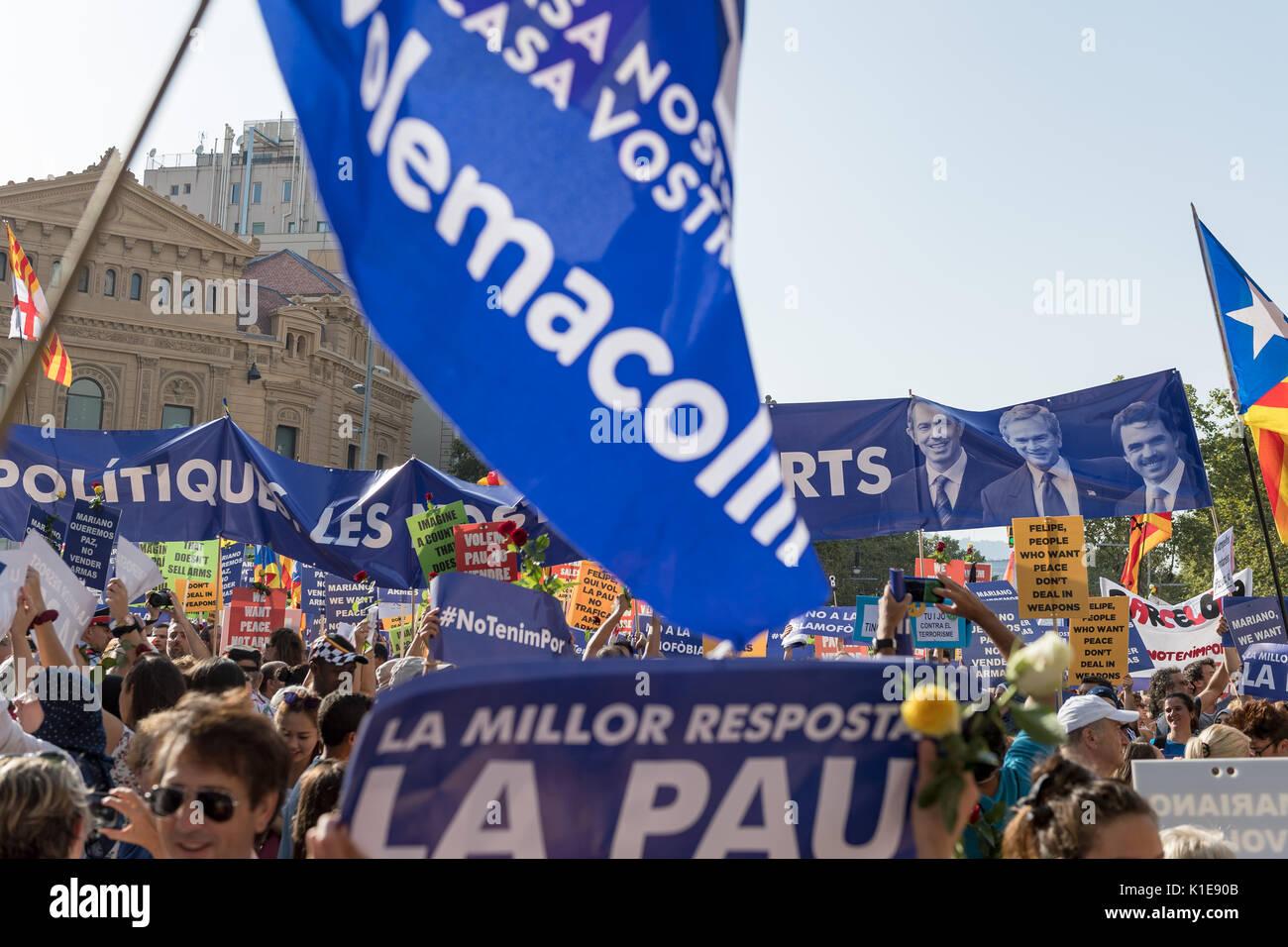 Barcelone, Espagne. Août 26, 2017. Un rassemblement se tiendra à Barcelone, une semaine après les attentats qui ont secoué la ville. L'événement d'aujourd'hui est de montrer notre solidarité avec les victimes de l'attaque. Crédit: Fabrizio Cortesi/Alamy Live News Banque D'Images