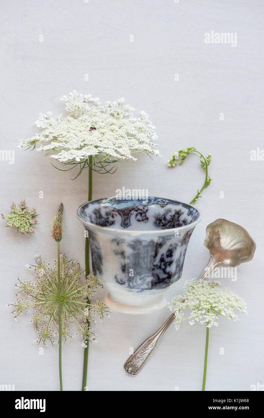 Tableau de fleurs sauvages avec verre et cuillère Photo Stock