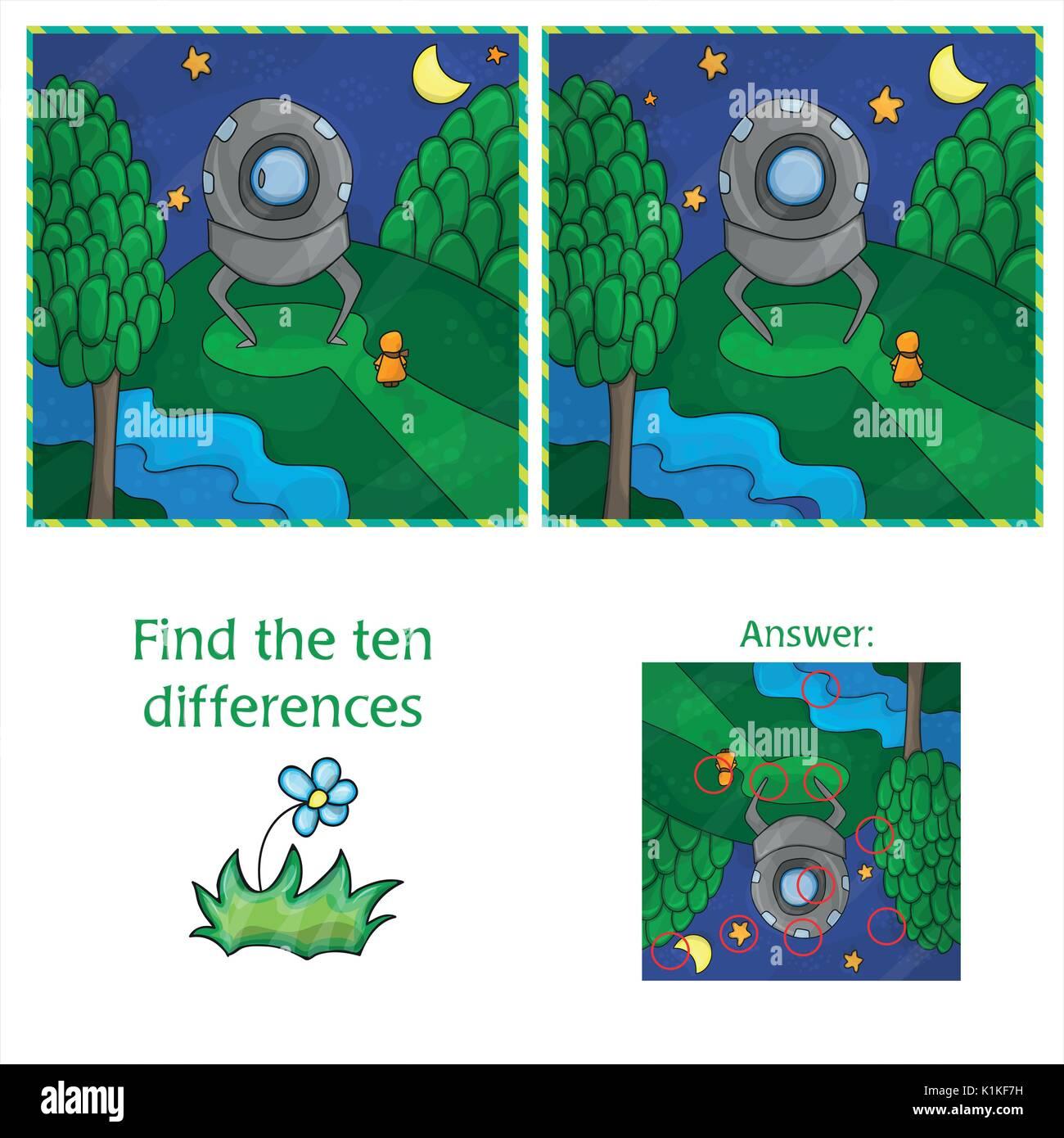 Trouvez les différences 10 OVNIS. Jeu éducatif pour les enfants. Cartoon vector illustration. Illustration de Vecteur