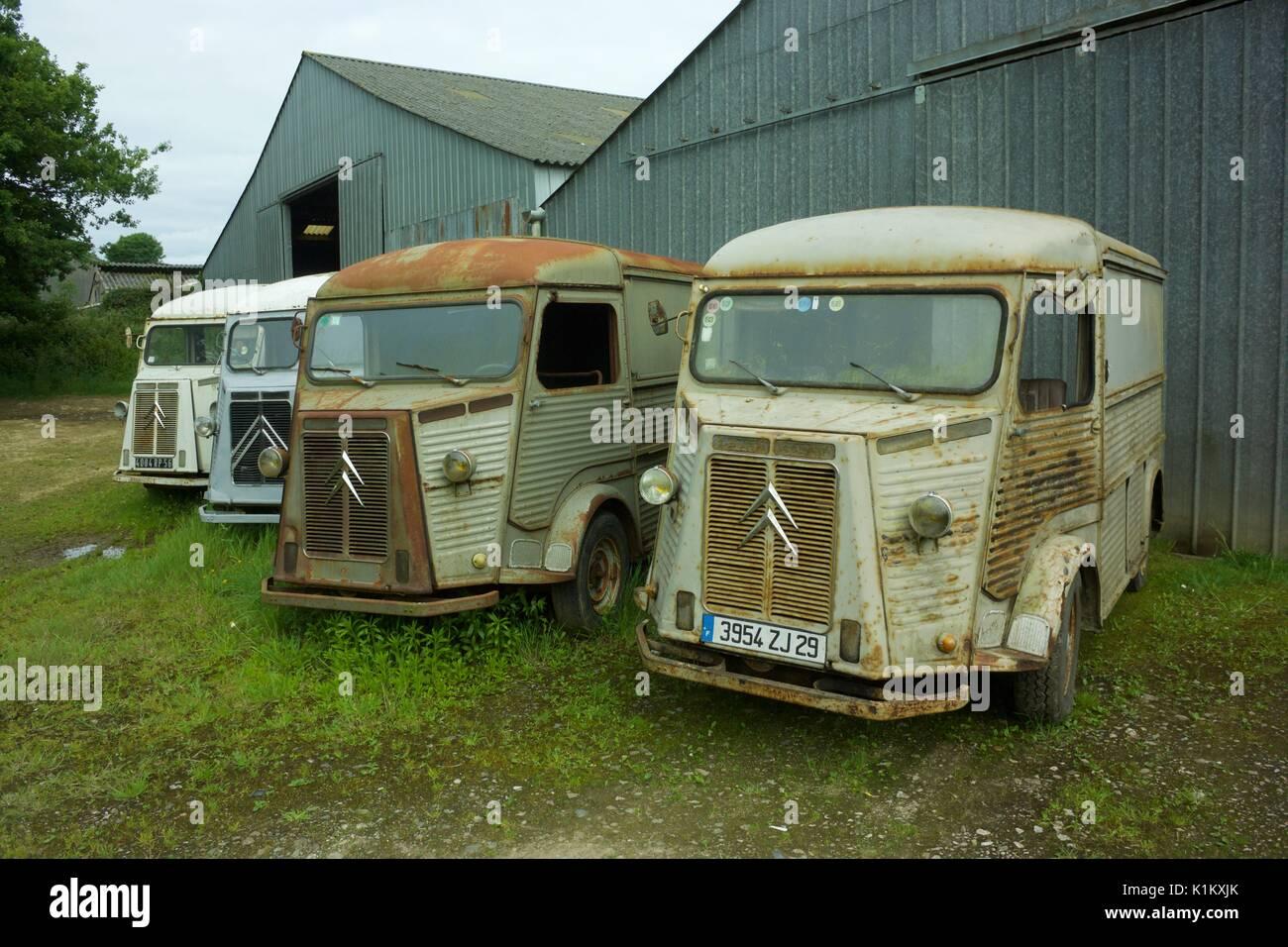 Une ligne de vintage Citroen H cars Banque D'Images