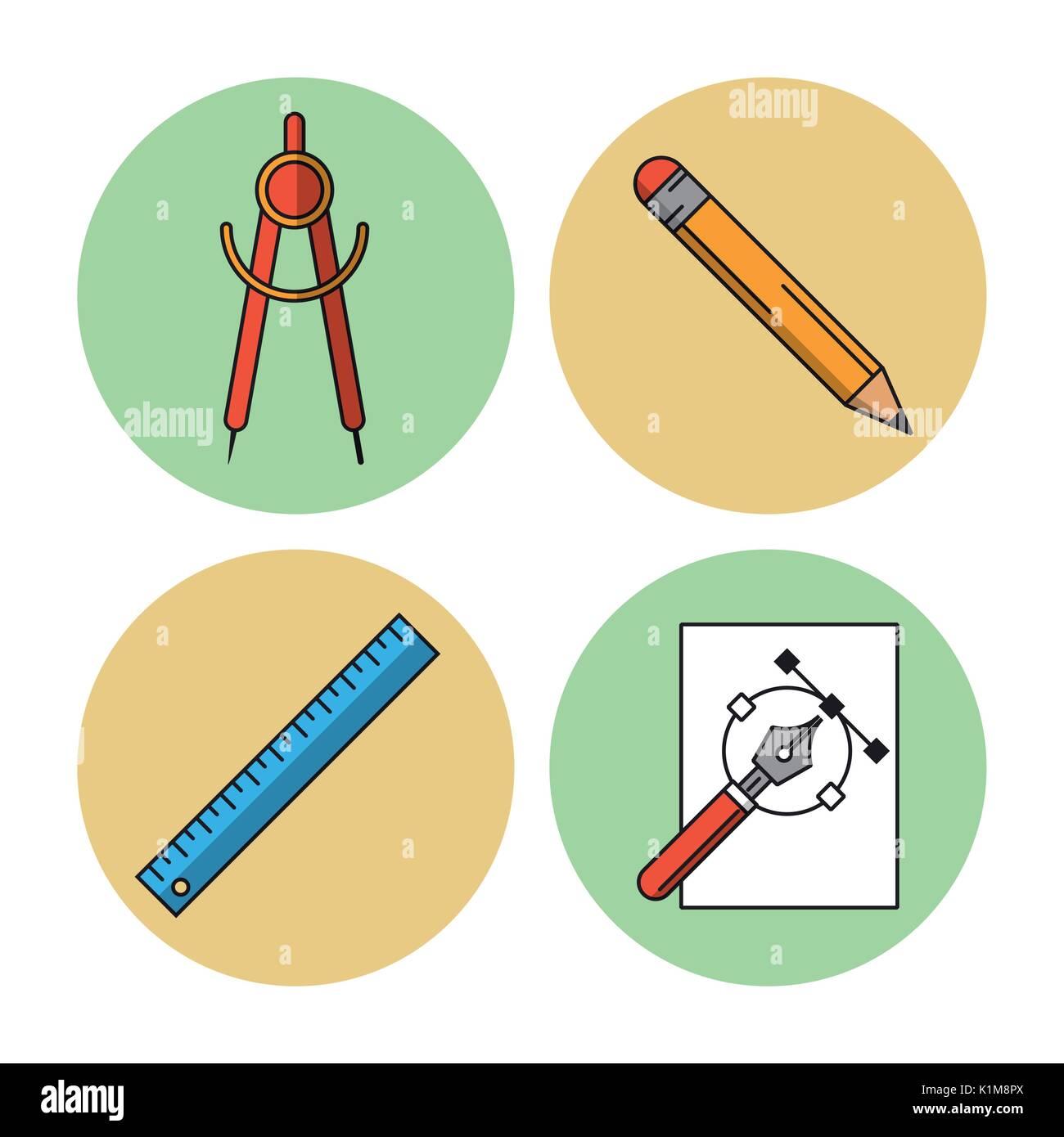 Fond blanc avec des cercles colorés avec des icônes de compass et le crayon et règle et stylo Photo Stock