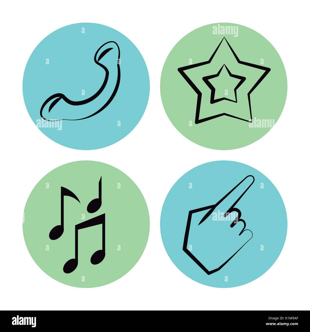 Fond blanc avec des icônes sur des cercles de téléphone et star et notes de musique et part Photo Stock