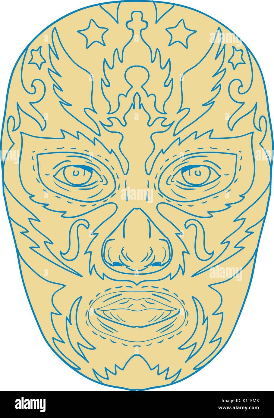 Illustration D Un Luchador Mexicain Lucha Libre Masque