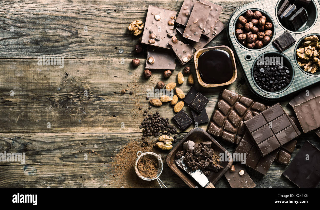 Assortiment de types de chocolat Photo Stock