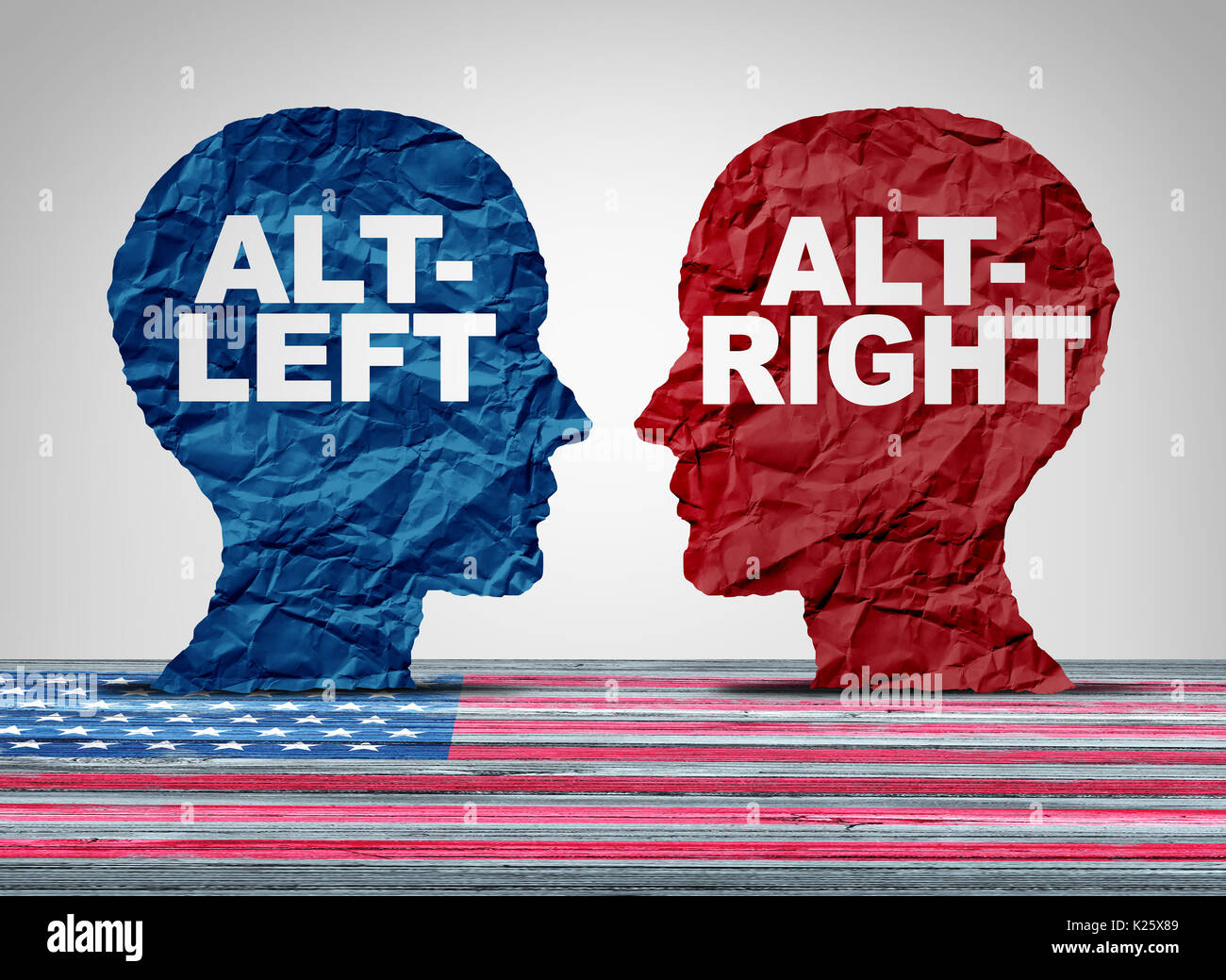 Alt droite ou altleft concept comme une pensée politique et sociale concept idelogies avec deux côtés de l'idéologie adverse débat avec 3D illustration. Photo Stock