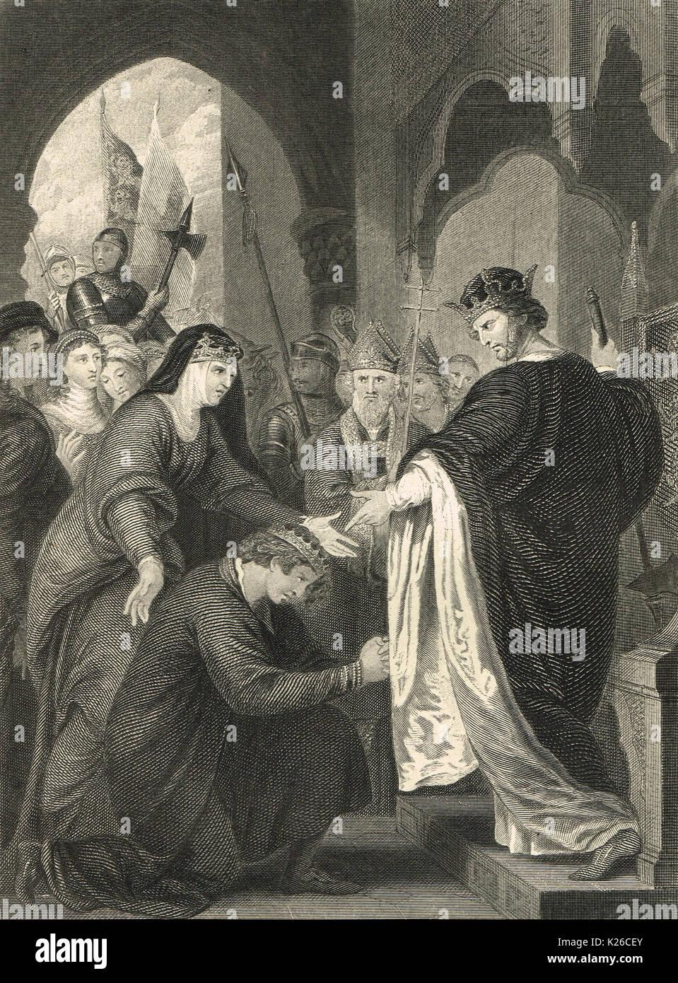 Le prince Jean à l'intention de Richard I, 1194 Photo Stock
