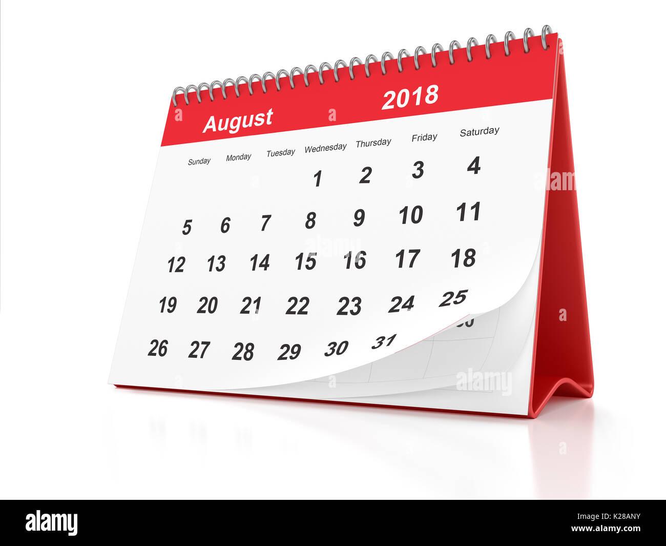 Ao t 2018 page d 39 un calendrier de bureau encadr es en plastique rouge sur fond blanc le rendu - Calendrier sur le bureau ...