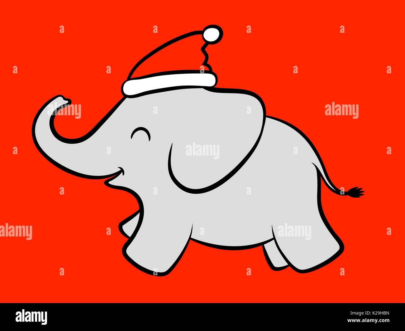 Dessin animé bébé joyeux éléphant fêter Noël avec le Père Noël un Père Noël  rouge chapeau 78a1d4246db
