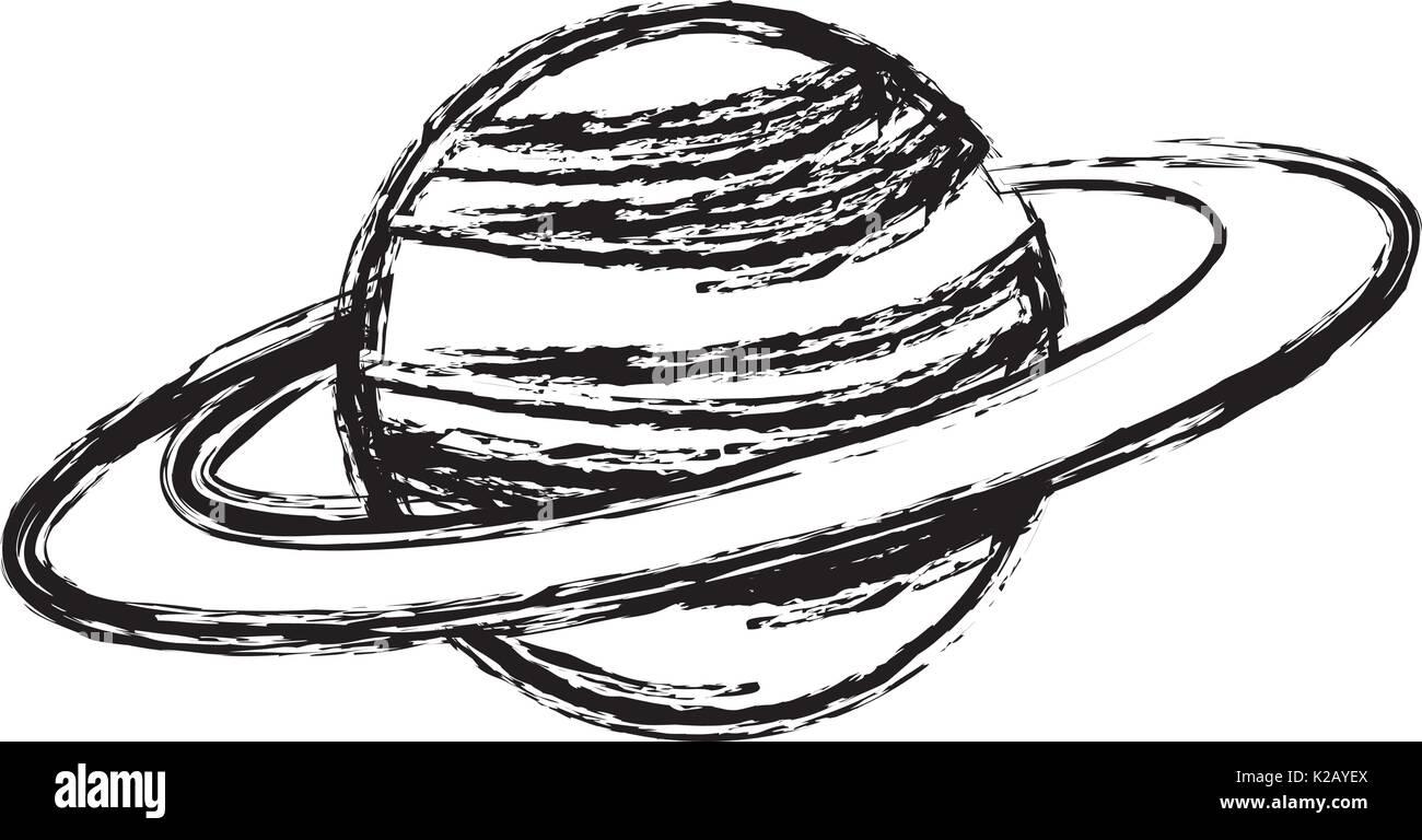 Planète Saturne avec anneau planétaire astronomie système Photo Stock