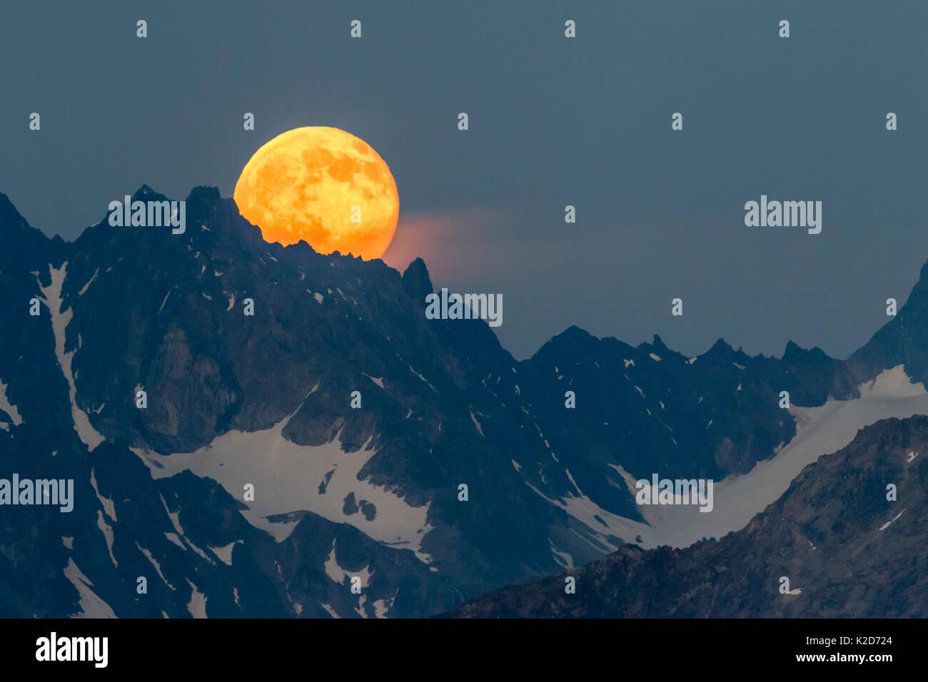 Pleine lune s'élève au-dessus de l'Verpeilspitze (3430m). Ce pic est une partie de l'Glockturmkamm, la plus occidentale de la crête de l'Otztal Alpes. Nordtirol, Alpes autrichiennes. Juillet. Panorama cousus numériquement. Photo Stock