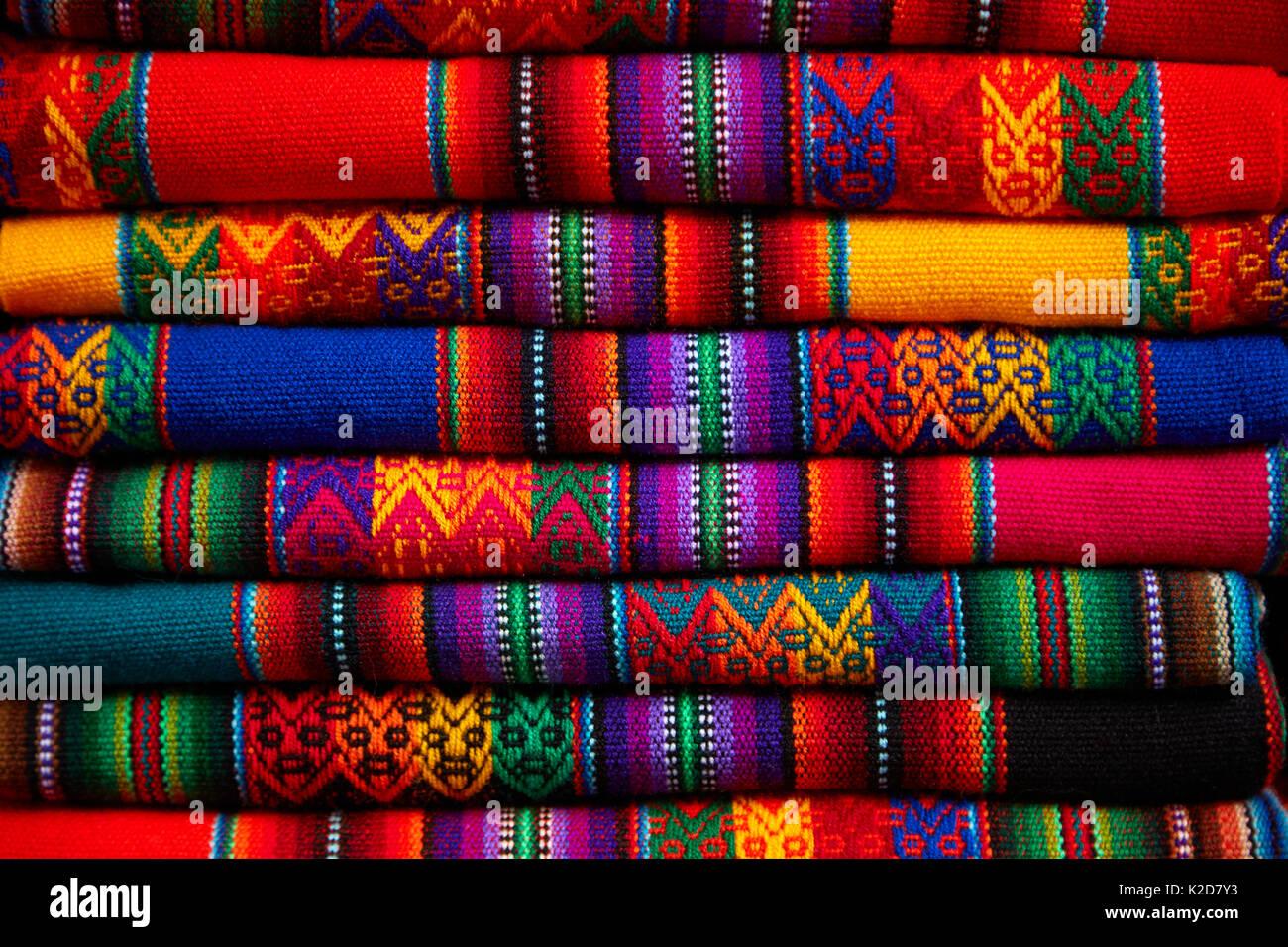 Tissu coloré, Cusco, Pérou, Amérique du Sud Photo Stock