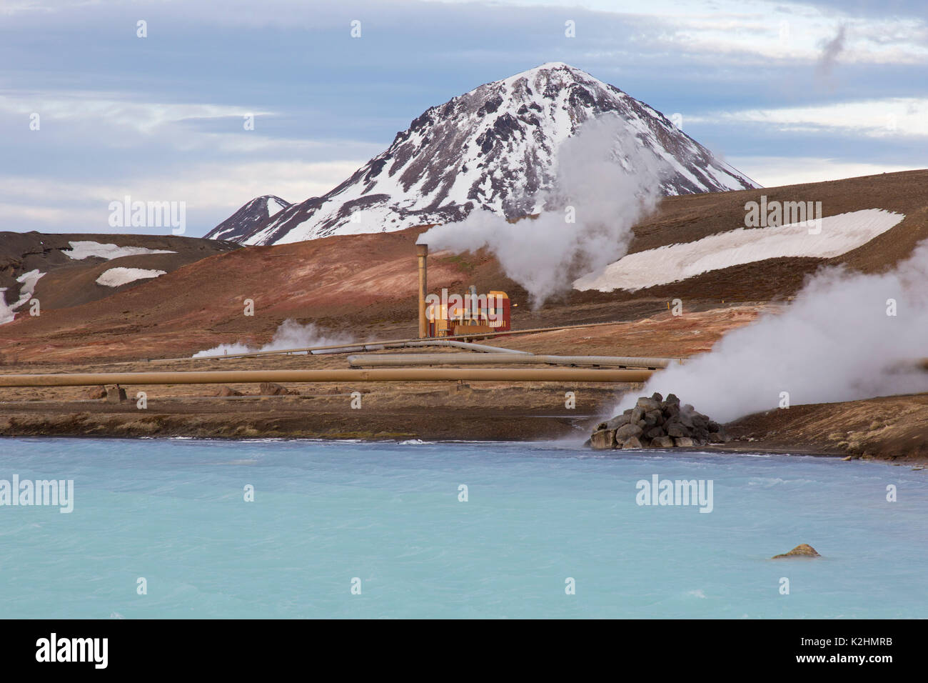 Bjarnarflag Geothermal power station / Bjarnarflagsvirkjun, exploité par Landsvirkjun près de Námafjall Mountain dans la zone géothermique de Mývatn, Islande Photo Stock