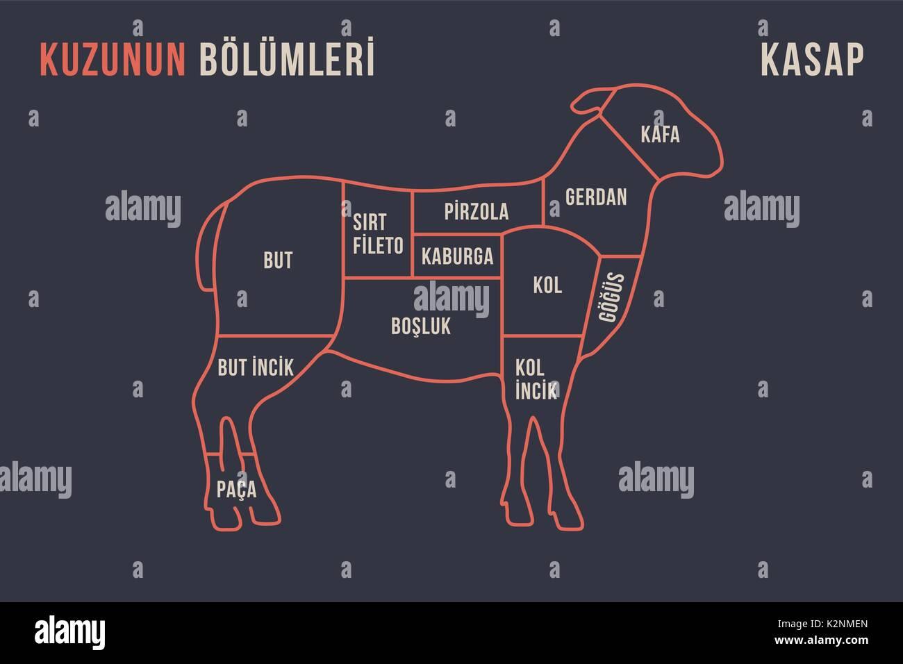 Les coupes de viande. Poster Butcher diagramme et scheme - Agneau ...