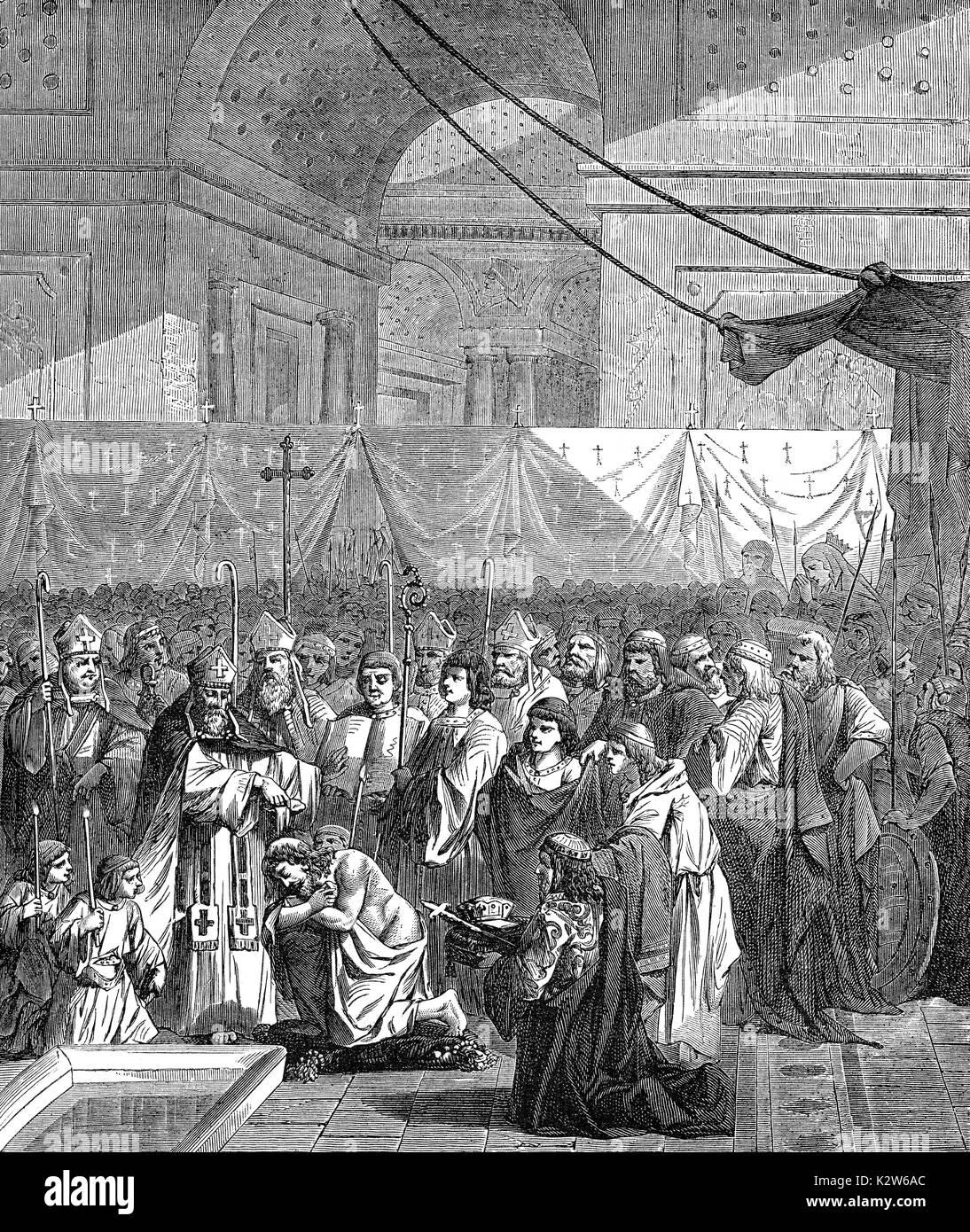 Saint Remigius baptise Clovis I, Roi des Francs, l'abbaye de Saint-Remi de Reims, le 25 décembre 496 Banque D'Images