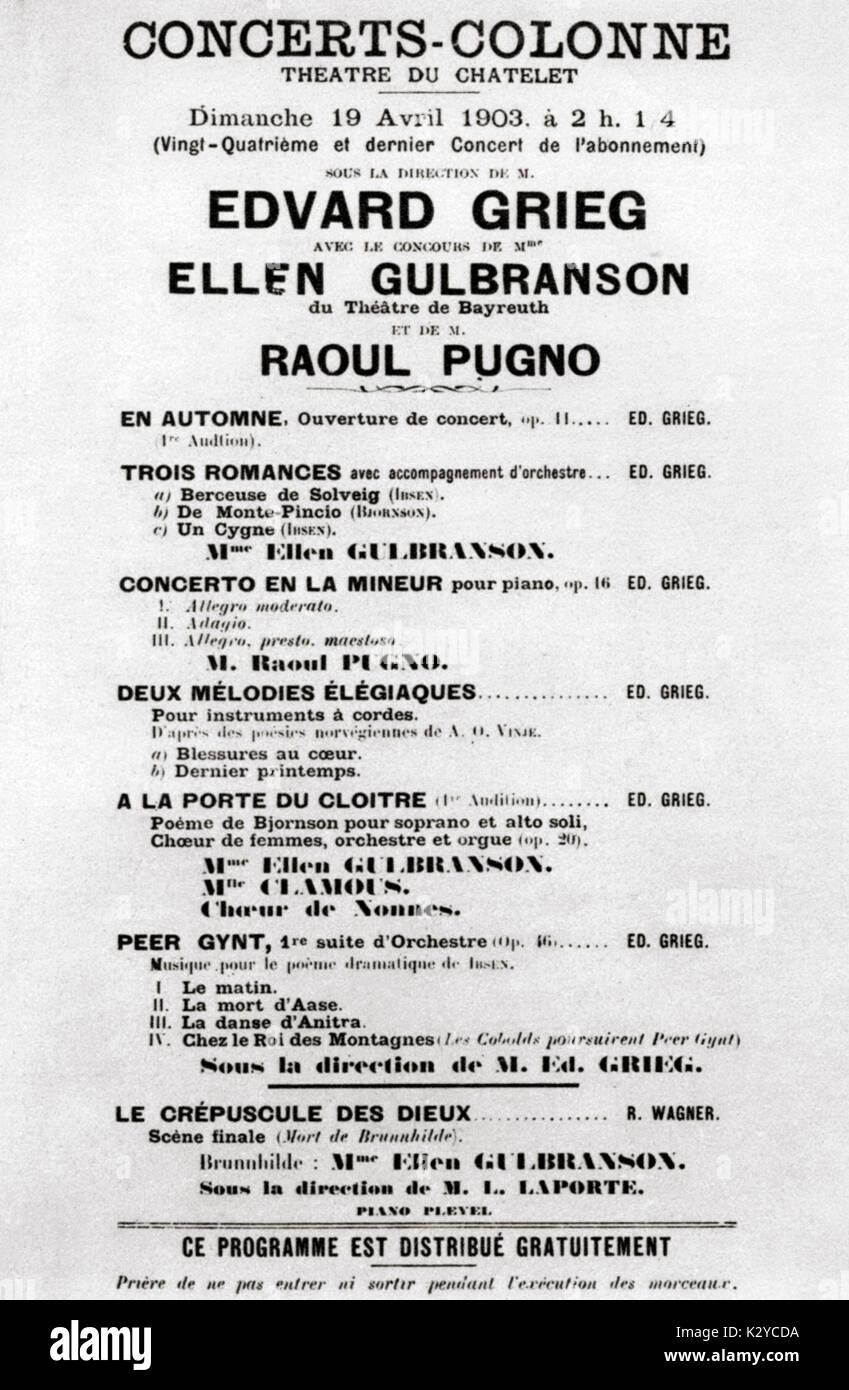 (Edvard Hagerup Grieg) - Programme pour le concert au Théâtre de Chatelet , Paris, 19 avril 1903. Compositeur norvégien, 15 juin 1843 - 4 septembre 1907. Grieg mener ses propres œuvres - y compris Peer Gynt Suite; Concerto pour piano en la mineur; 3 romances. Photo Stock