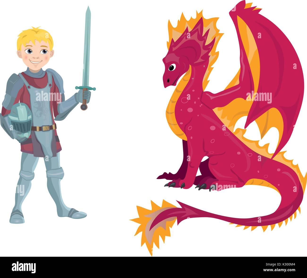 Un dessin anim dragon et jeune chevalier dans son armure tenant une p e et un bouclier - Dessin armure ...