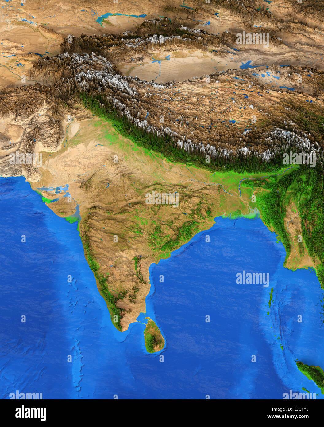 Carte Inde Relief.Carte De L Inde Vue Detaillee De La Terre Et De Son Relief