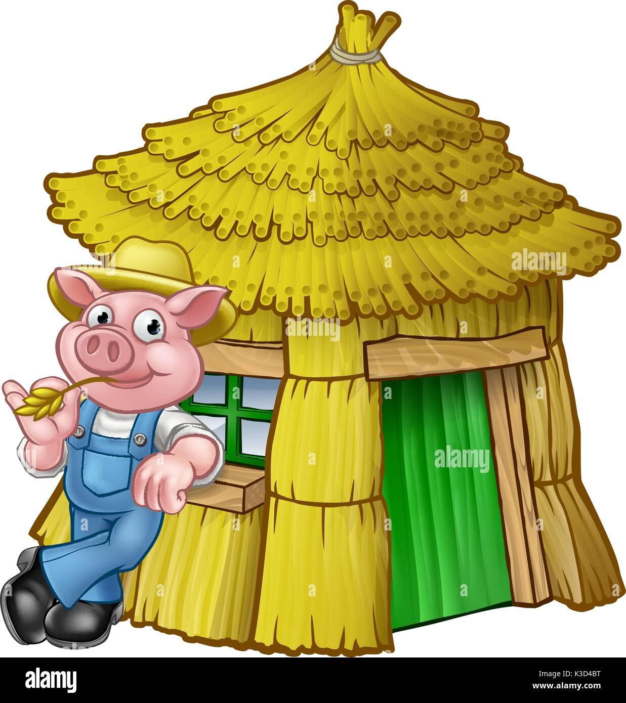 Trois petits cochons conte maison de paille