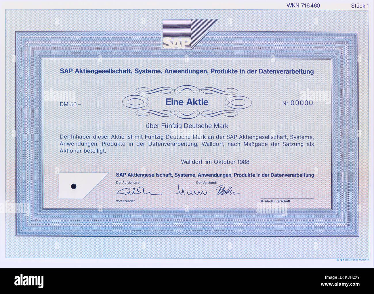 Le bilan de l'entreprise SAP, systèmes, applications, produits, le traitement des données Photo Stock