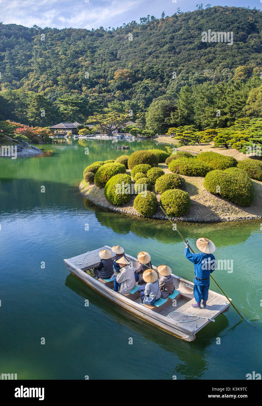 Le Japon, l'île de Shikoku, Takamatsu Ritsurin Koen, ville jardin, bateau, transport, tourisme Photo Stock