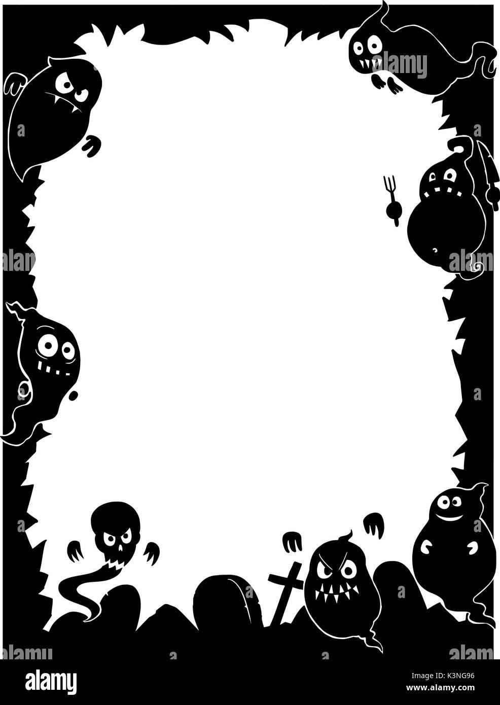 Dessin à La Main Cartoon Halloween Cute Frame Avec Ghost Et