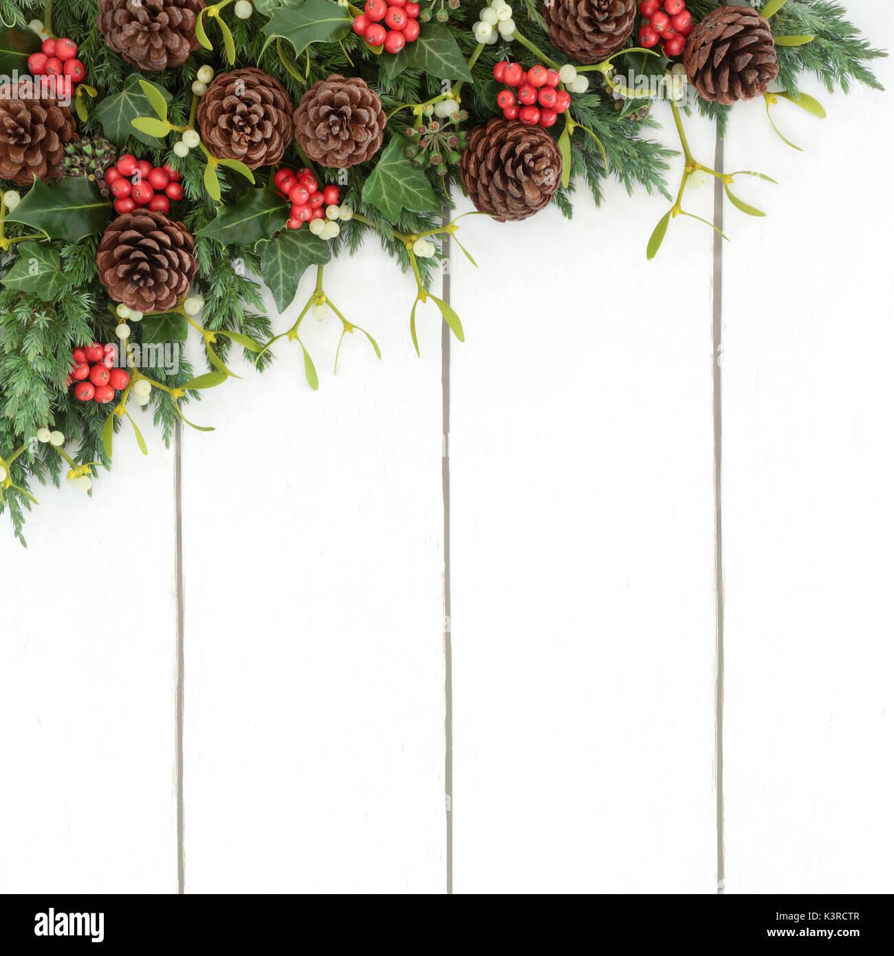 Bouquet De Noel Avec Du Houx l'hiver et noël frontière avec le houx, le gui, le lierre