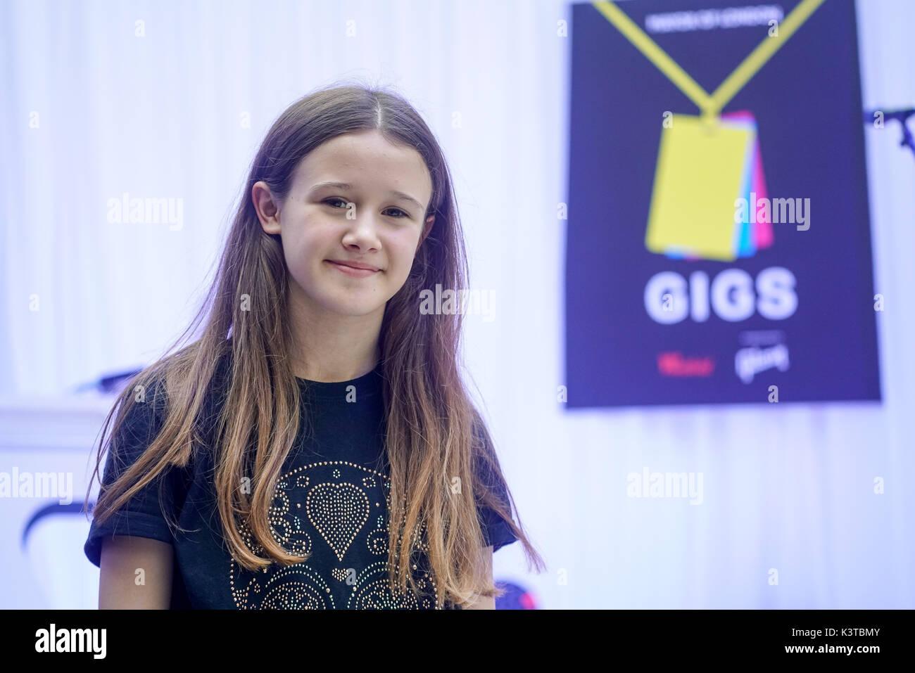 Londres, Royaume-Uni. Sep, 2017 3. Finalistes Lucy Gowen fonctionne à la maire de Londres Concerts à Westfield London. Credit: Voir Li/Alamy Live News Banque D'Images