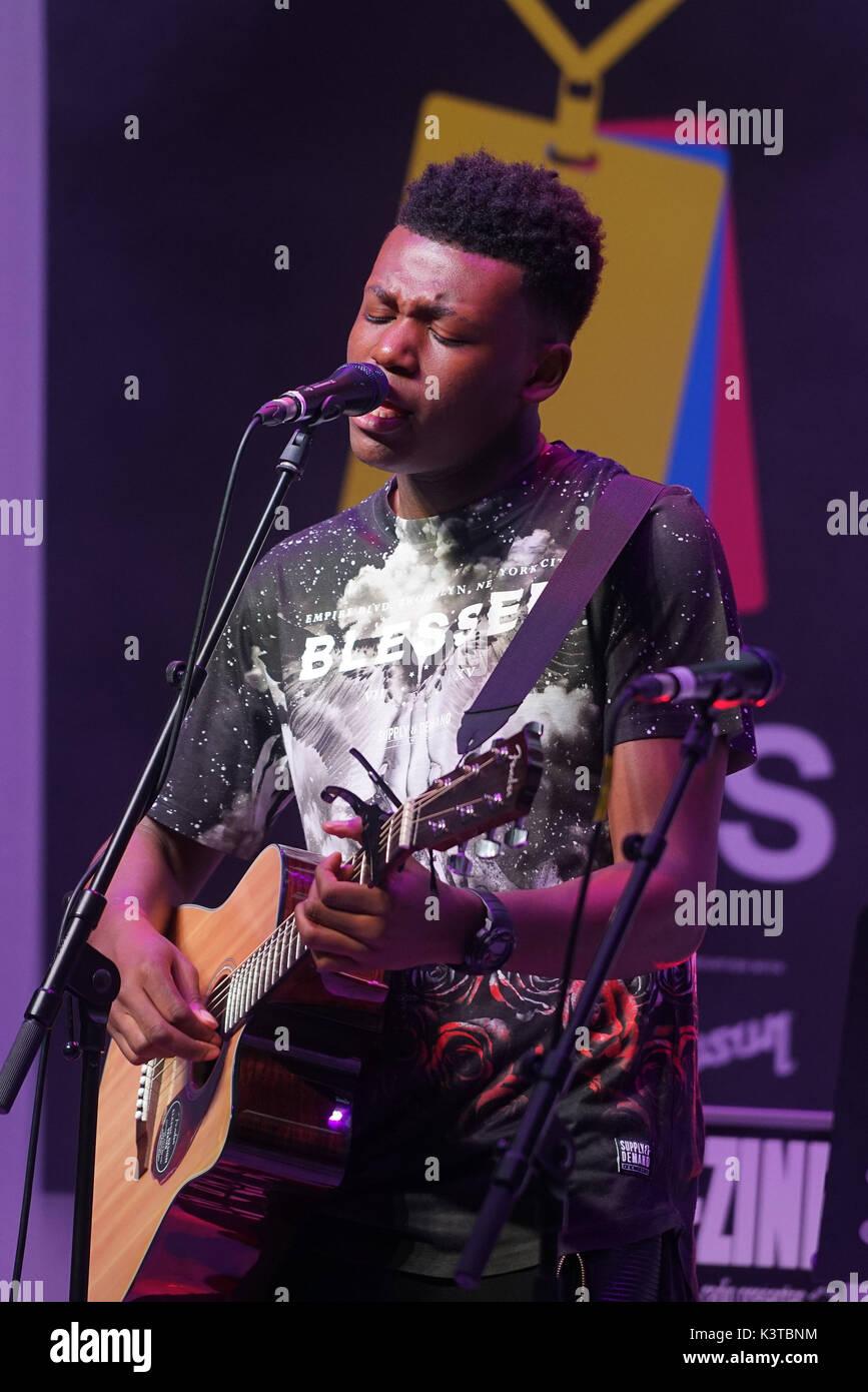 Londres, Royaume-Uni. Sep, 2017 3. Ky finalistes fonctionne à la musique le maire de Londres Concerts à Westfield London. Credit: Voir Li/Alamy Live News Banque D'Images