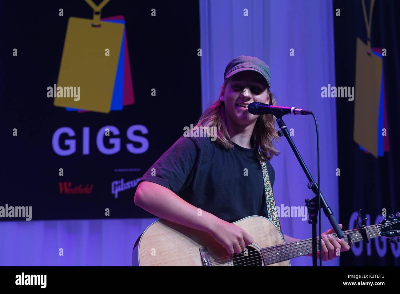 Londres, Royaume-Uni. Sep, 2017 3. Josh gagnant Gleaves effectuer à la maire de Londres Concerts à Westfield London. Credit: Voir Li/Alamy Live News Banque D'Images