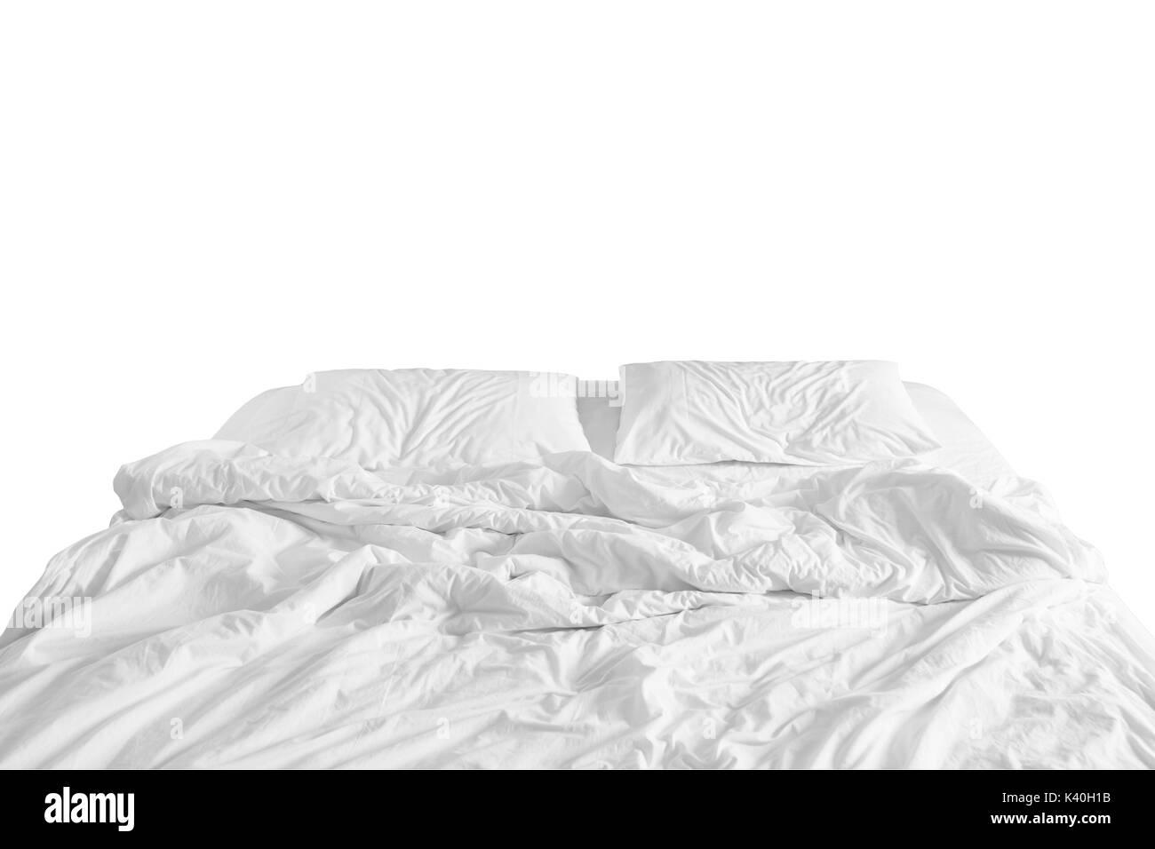 lit d fait avec drap froiss une couverture et des oreillers couette confort apr s dormir se. Black Bedroom Furniture Sets. Home Design Ideas