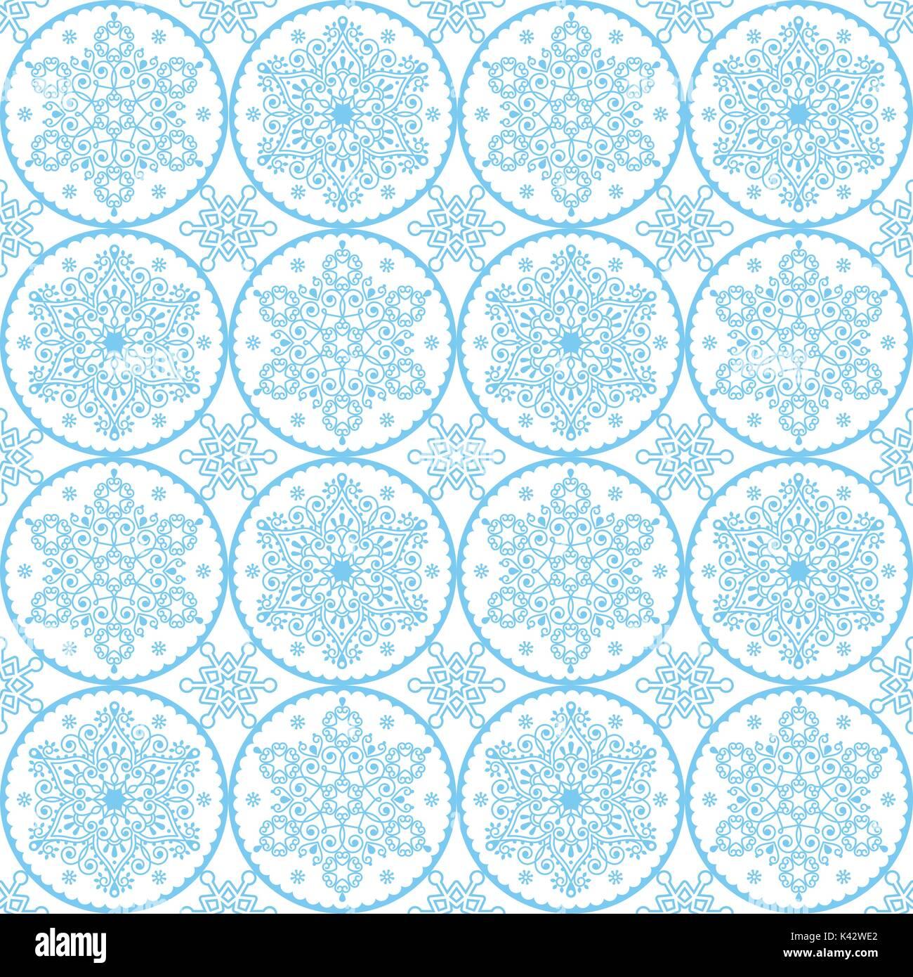 Vecteur De Noël Motif Art Populaire Blue Snowflakes