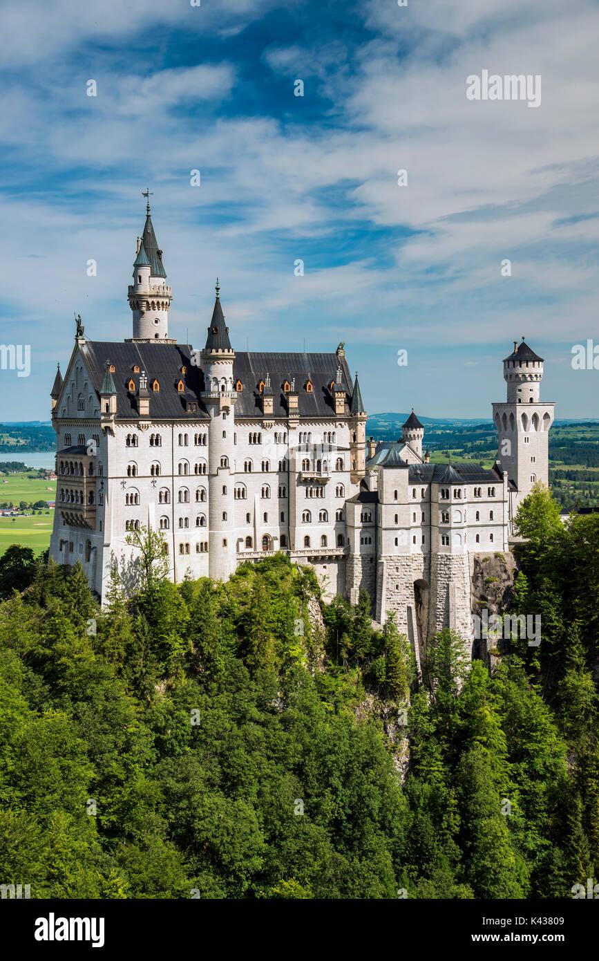 Le château de Neuschwanstein ou Schloss Neuschwanstein, Schwangau, Bavière, Allemagne Photo Stock