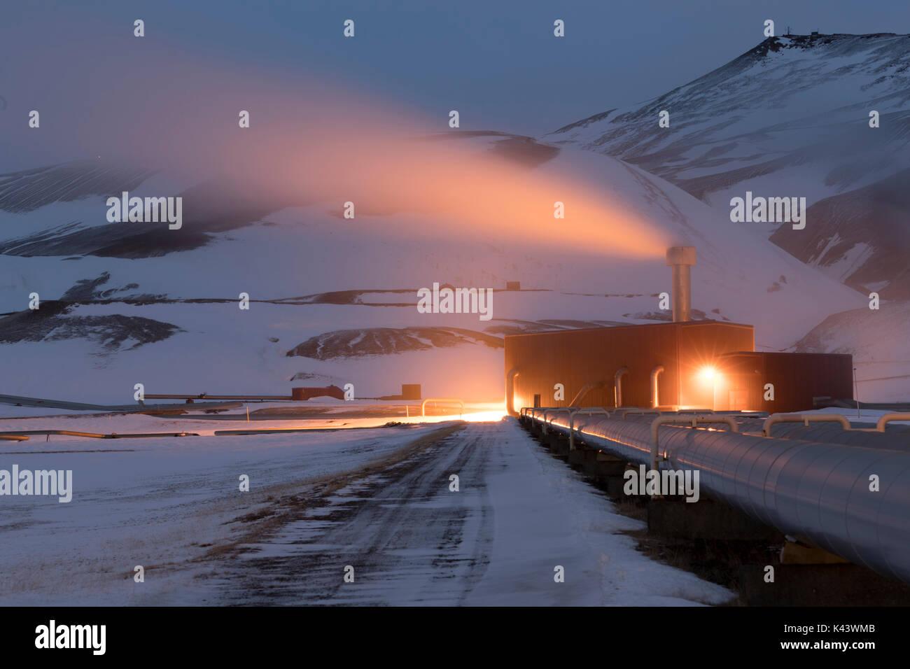 Krafla Power Station se défouler, Landsvirkjun, Islande Photo Stock
