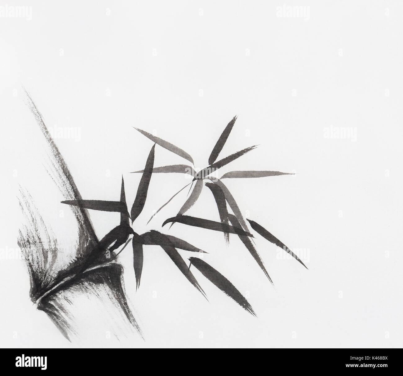 Tige De Bambou Avec Des Feuilles Peinture Zen Japonais Sumi E L