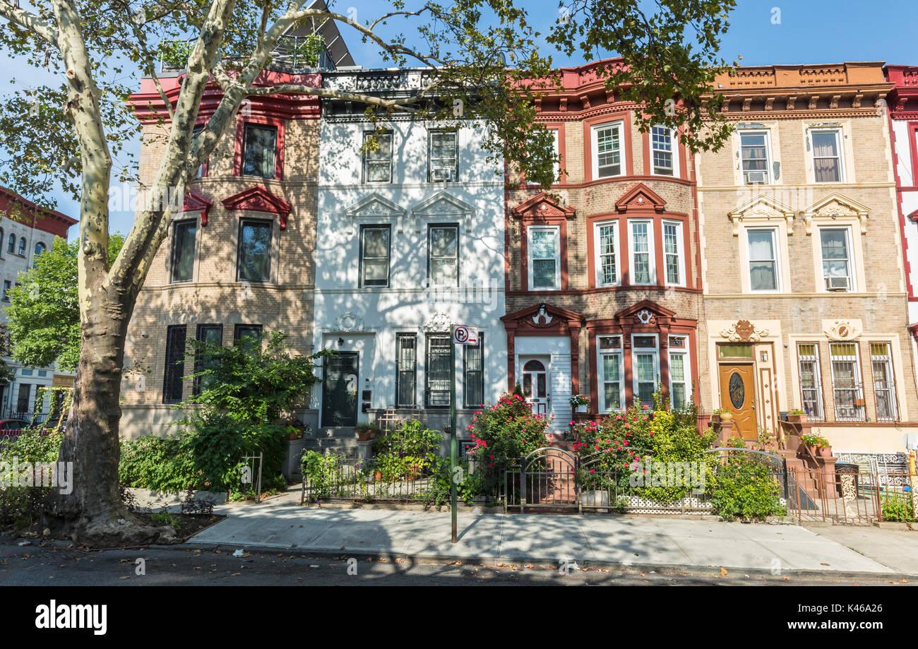 Une rangée d'immeubles de briques historique sur st. Francis place dans le quartier de Crown heights à Brooklyn, New York Photo Stock